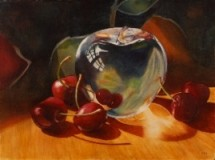 """An Apple A Day"" by Marla Greenfield, watercolor on paper"