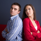 man and woman annoyed with each other