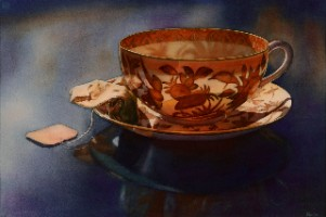 """My Cup of Tea"" by Marla Greenfield, watercolor on paper"