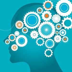 creative brain on turquoise background