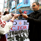 Magician David Blaine in Times Square to raise money for Haiti