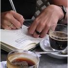 Journaling while having coffee